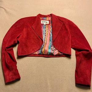 Vintage Suede Leather Red Crop Jacket Size Medium